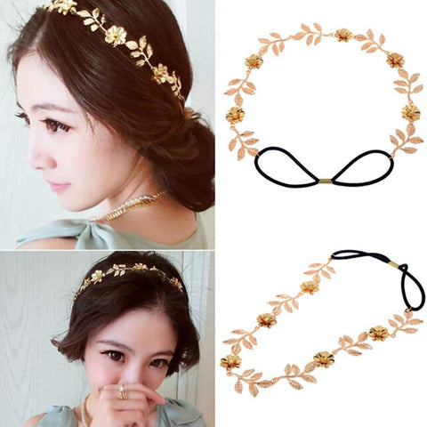 Romantic Crystal Leaves Flower Bride HairBand 2107 New Women Gold Plating Wedding Hair Accessories Bridal Headpiece