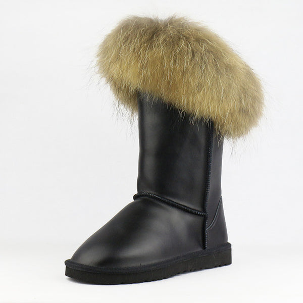 Free Shipping Boots Women High Boots Women Snow Boots 100% Genuine Winter Shoes Natural Fox Fur Leather