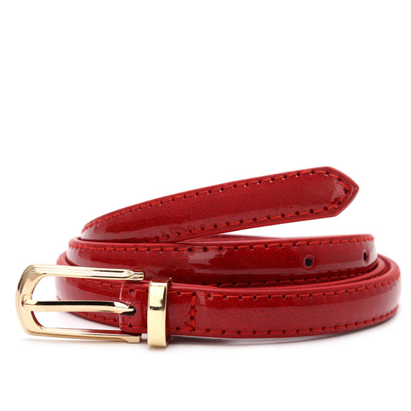 Candy Color Thin Belt Alloy Buckle Faux Leather Waist Chain Strap Waistband Black/Red/White/Camel/Coffee