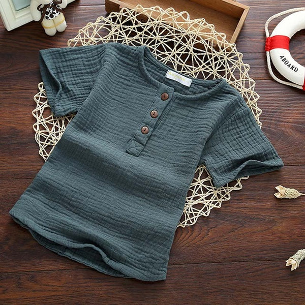 Cotton Linen Summer Long Sleeve T Shirt Baby Boy girl Kids Casual Clothes Tops Tee Children Clothing Button Spring Fall 3-7Y