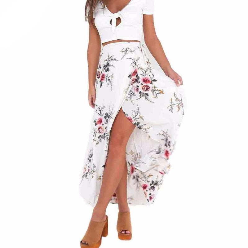 Flower Printing Long Skirt Women Elegant Beach Maxi Skirt Boho Sexy Asymmetrical High Waist Slim White Party Skirt