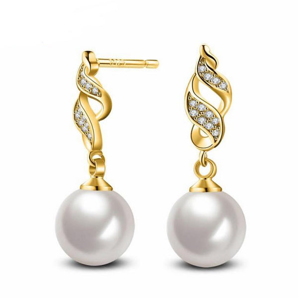 Fashion Pearl Crystal Rhinestone Jewelry Women Ear Earrings Pearl
