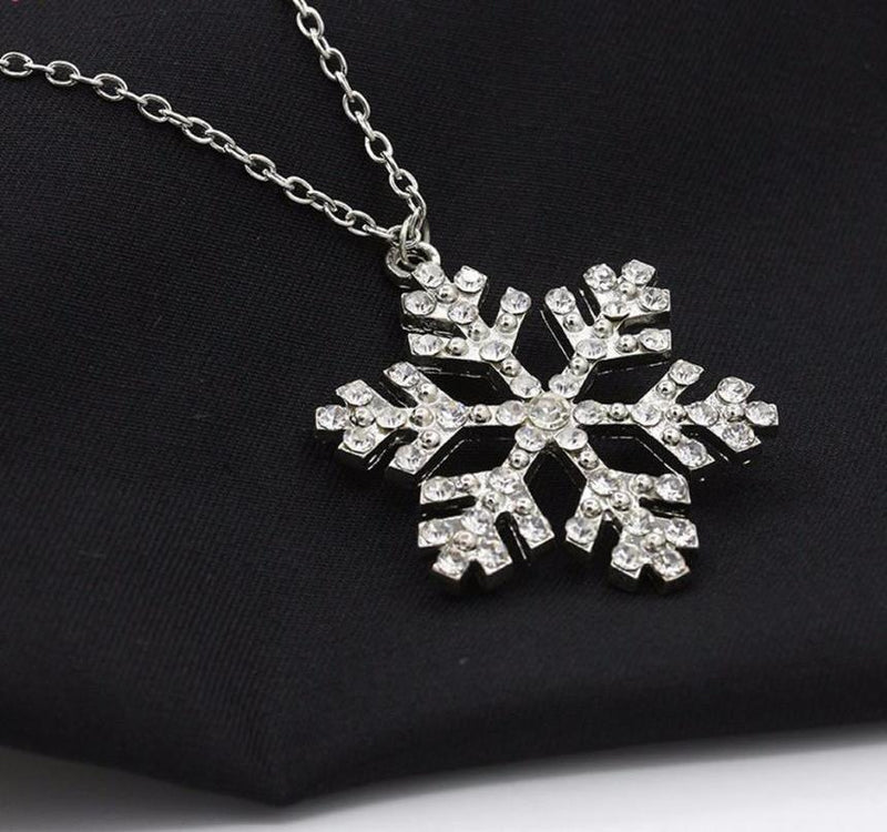 Rhinestone Snowflake Necklace Pendants Chain Necklace Jewelry Women