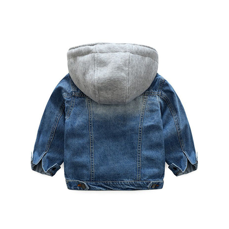 Baby Boys Coat New Spring Autumn Wash Soft Denim Coat  Hooded Zipper Coat  Jeans Jacket for Kids Children Clothing