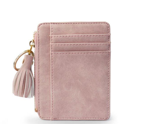 New Slim Women Wallet Short Bag Small Pu Leather Credit Card Holders Thin Tassel Zipper Wallets Coin Pocket Fashion Clutch bag