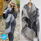 Fashion Women Scarf Warm Winter Plaid Scarf  Shawl Reversible Cape Shawl Wraps Blanket Warm Poncho KH950750