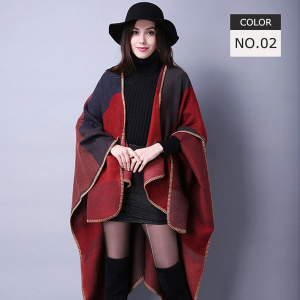 Scarves Women Scarf Pashmina Cashmere Ponchos And Capes Top Quality Plaid For Ladies Pashmina For Dress Luxury Brand Scarfs