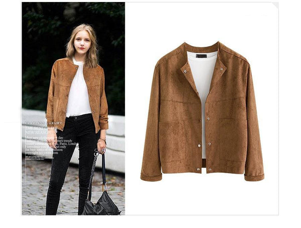 new designer brown Suede Fabric jacket women cardigan Coat Autumn Women's bomber jacket Fashion Plus Size XXXL