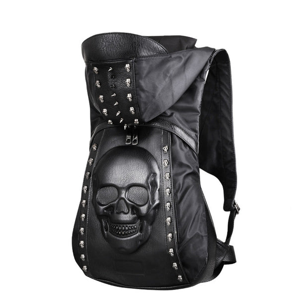 New Fashion Personality 3D skull leather backpack rivets skull backpack with Hood cap apparel bag cross bags hiphop man
