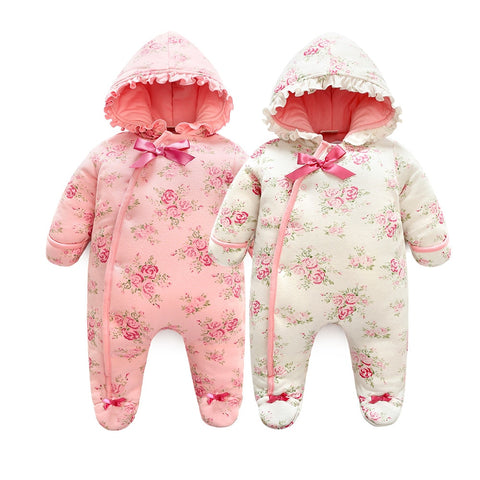 f080beb824ca Winter Newborn Baby Girl Rompers Thicken Warm Cotton Jumpsuit Hooded  Clothing Floral Princess Christmas Girls Onesie