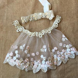 Handmade Newborn Photography Props Embroidery Dress Princess Baby Lace Dress Pearl Crown Headband