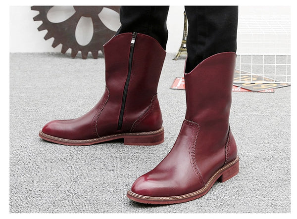 Winter Genuine Leather High Pointed Knight Ankle Boots Warm Casual Men Zipper Rain Botas Masculina Chelsea Boots Botinas