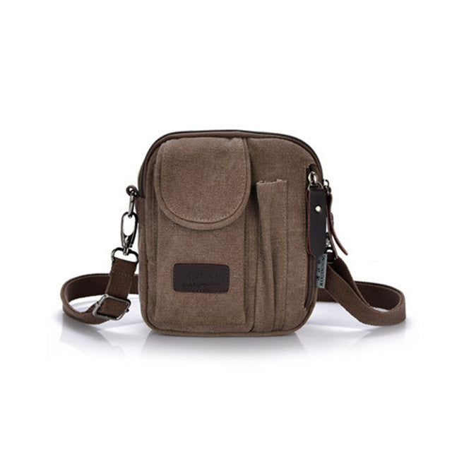 Men's canvas crossbody shoulder bag casual fashion Zipper travel messenger phone bag multi-color Classic handbags