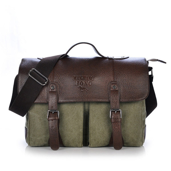 new Canvas Leather Men's Briefcase Casual Vintage Men's Crossbody Bag Bussiness Shoulder Messenger Bag For Women Man Unisex