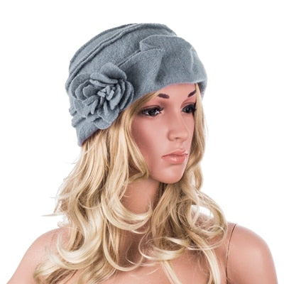 ... Wool Hat Women Winter Hats Solid Flower Warm Knitted Ladies Beanies  Skullies Bonnet Femme Bucket Cloche 94799f3e98