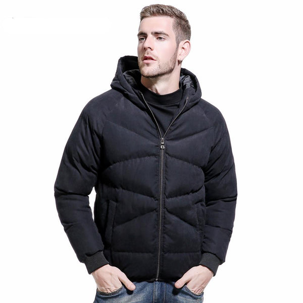 New Men's Casual Parkas Solid Fleece Winter Bomber Jacket Men Fashion Hooded Thick Warm Padded Overcoat Outwear Parkas