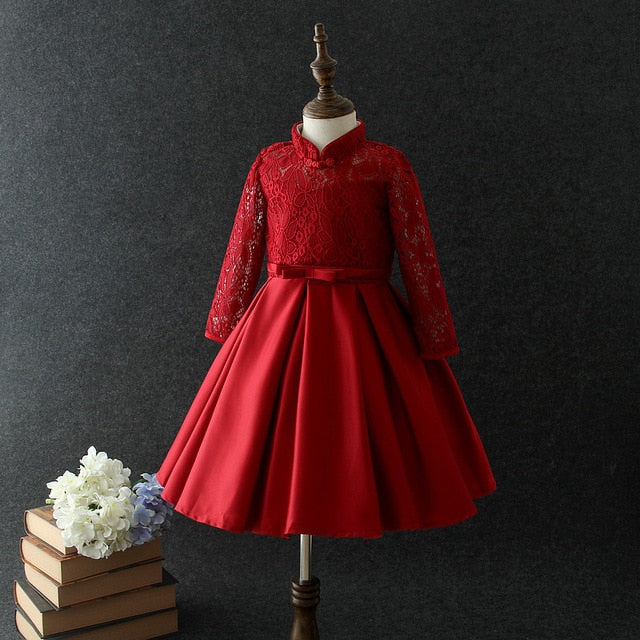 Winter Lace High Grade Dress For Baby Girl Gown Birthday Outfits Children Wedding Dresses Girl Kids Party Wear 3 12yrs