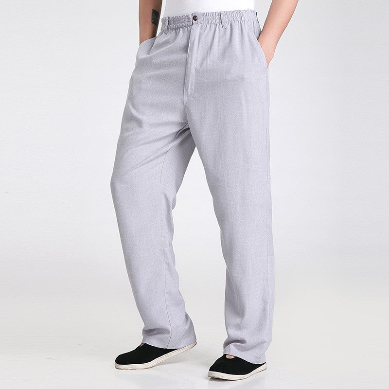 New Arrival Gray Men's Kung Fu Trousers Cotton Linen Pants Clothing Size S M L XL XXL XXXL 2350
