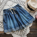 Spring Summer Mori Girl Short Women's Layer Floral Embroidery Elastic Waist Pocket Denim Cowboy Female Vestido Mini Shorts U489