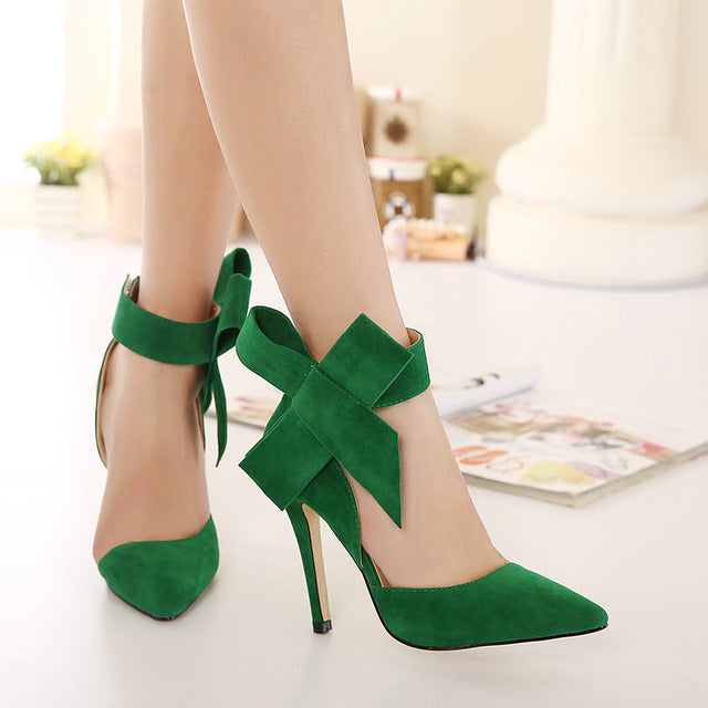 New spring summer fashion sexy big bow pointed toe high heels sandals shoes woman ladies wedding party pumps dress shoe