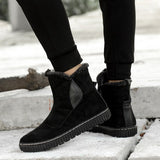 Warm Plush Ankle Snow Boots Waterproof Cow Suede Winter Shoes Luxury Male Casual Shoes For Men Winter Boots