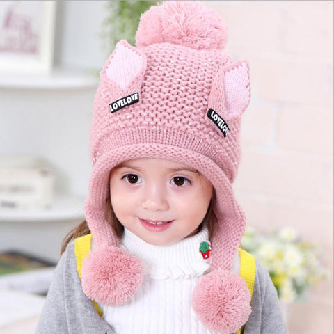 velvet boys Beanies Cat ears wool solid Winter Baby Child knitted hat kids girls Earflap Caps Age for 2-6 years old