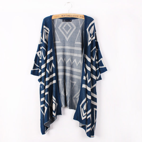 Fashion Spring Autumn Women's Girls Rhombus Pattern Batwing Sleeves Long Loose Knitted Cardigan Shawl Cape Sweater Coat One