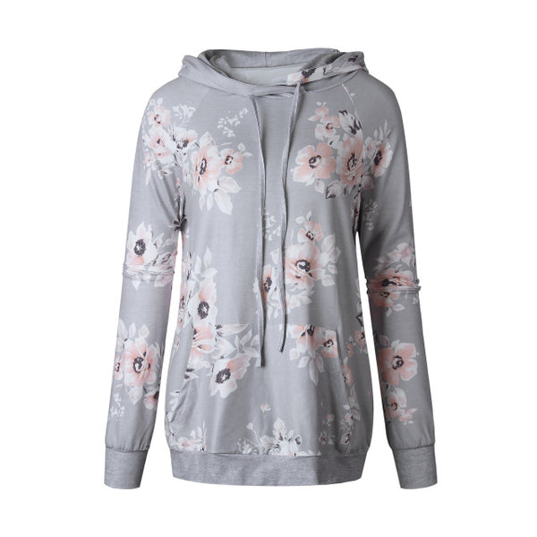 Autumn Fashion Womens Hoodies Long Sleeve Sweatshirt Women Hooded Floral Print Gray Ladies Pullover Kwaii Female Tops