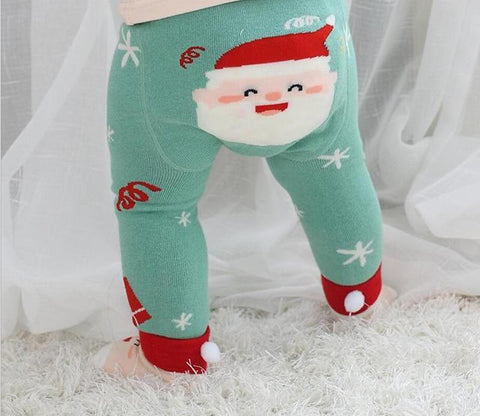 Adorable Cotton Baby Leggings autumn cartoon Puppy/Santa design Kids Girls PP Pants Children Legging for 0-24m toddler Baby Xmas