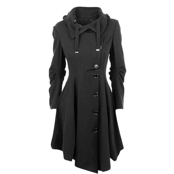Fashion Long Medieval Trench Woolen Coat Women Winter Black Stand Collar Gothic Overcoat Elegant Women Coat Vintage Female