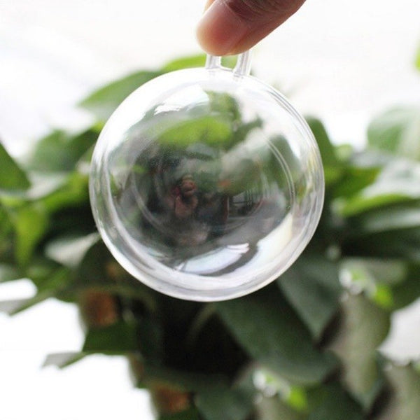 5pcs Christmas Tress Decorations Ball Transparent Open Plastic Clear Bauble Ornament Gift Present Box Decoration