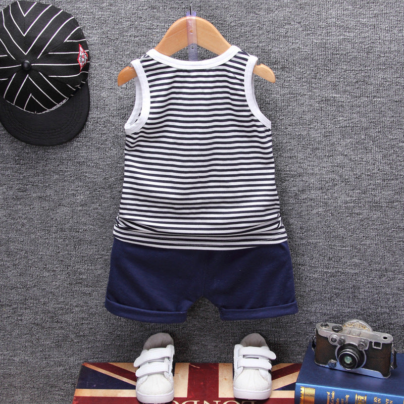 c46a26ac2776 ... Fashion Children Boys Girls Summer Clothing Suits Baby Vest Shorts 2Pcs  Kids Embroidery Star Clothes Toddler ...