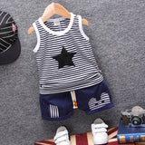 Fashion Children Boys Girls Summer Clothing Suits Baby Vest Shorts 2Pcs Kids Embroidery Star Clothes Toddler Tracksuits
