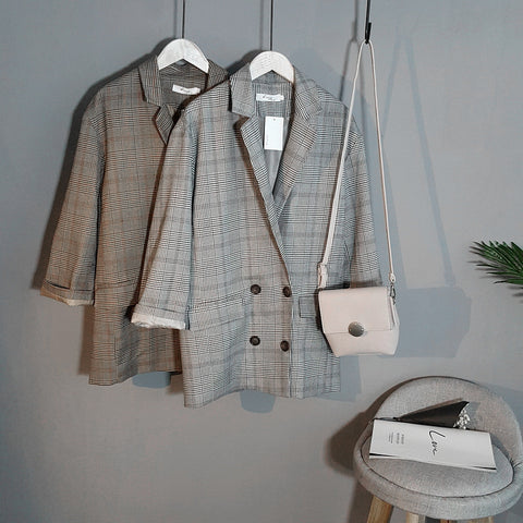 Autumn Plaid Long Blazer Women double breasted Blazer Long Sleeve Suit Jacket Female Casual Coat RZF1227