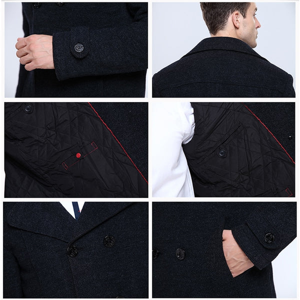 Wool Blends Suit Design Wool Coat Male Quality Casual Trench Slim Fit Double Breasted Office Suit Jacket Coat for Men's 3018