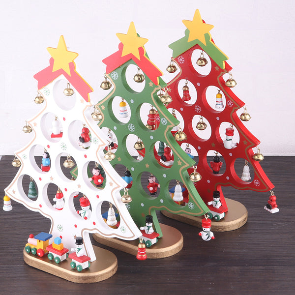 DIY Ornaments Mini Christmas Tree Wooden Christmas Ornaments Festival Party Xmas Tree Table Desk Decoration