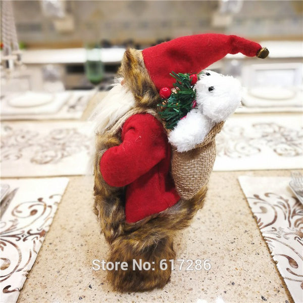 Christmas gift Dearsun brand hot decoration 1pc  Santa Claus standing figure excellent quality handicraft  W17*H30cm