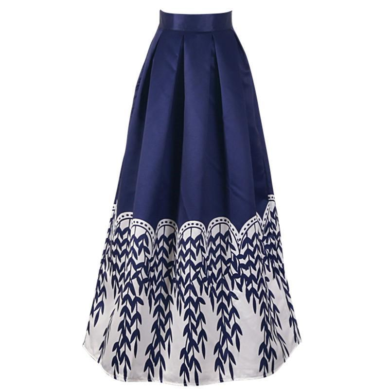 New Women Elegant Maxi Skirts Pleated Vintage Willow Printed Flared ...