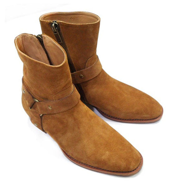 Tan/Black Suede Leather Chains Harness Men Boots Stacked Heel Ankle Boots Side Zip Men Fashion Chelsea Boots Men Shoes