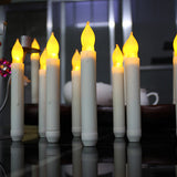 Pack of 6 Flameless Taper Candles With Timer(6 hours on,18 hours off),Yellow Flickering Battery Operated Christmas Candles