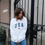 New American Hooded Sweatshirt USA Letter Printed Women Elegant Long-sleeved Pullover Fashion High Quality Hoodies White