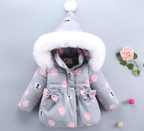 Winter Baby Jackets Hooded  Warm Toddler Baby Girls  Outerwear Faux Fur Baby Girls Clothing Infant Baby Girls Outfits Clothes