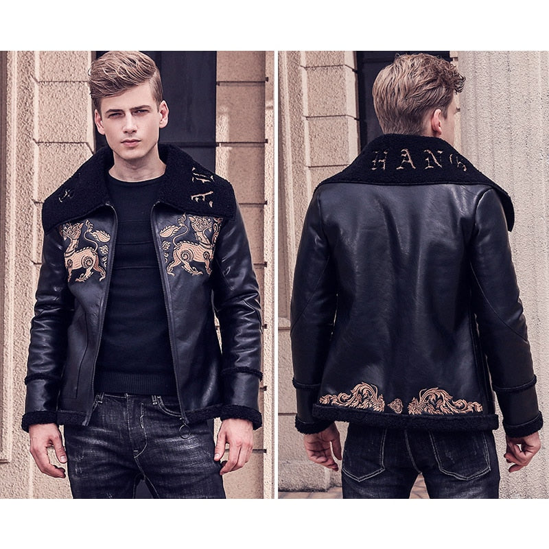 Free Shipping New fashion male Mens embroidery leather animal pattern short style man jacket 710165 winter coat