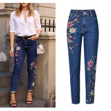 Fashion Jeans Women's Clothing Straight Denim Jeans Pants 3D Floral Embroidery Pants High Waist Ladies Loose Jeans Trousers