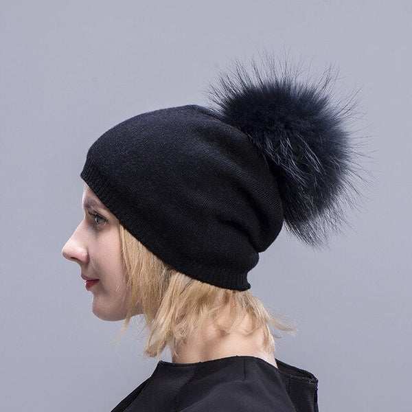 e6cbb9151b0 ... Ms.MinShu Cashmere Hats For Women Pompom Beanies Fur Hat Female Warm  Caps With Real