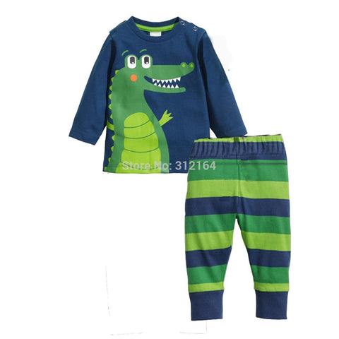 Free Shipping Baby Kids clothing set Children Sets Sleepwear Boys Girls Crocodile kids clothes Sets