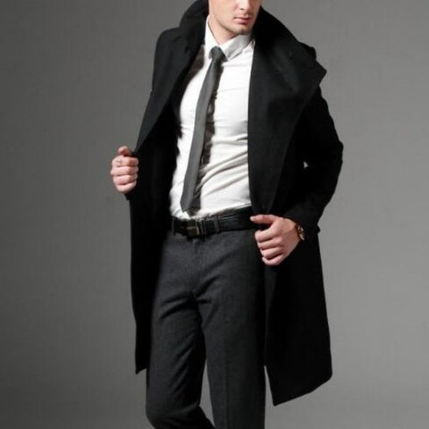 Autumn Winter Mens Fashion Casual Single Breasted Long Trench Coat Jacket Woolen Overcoat British