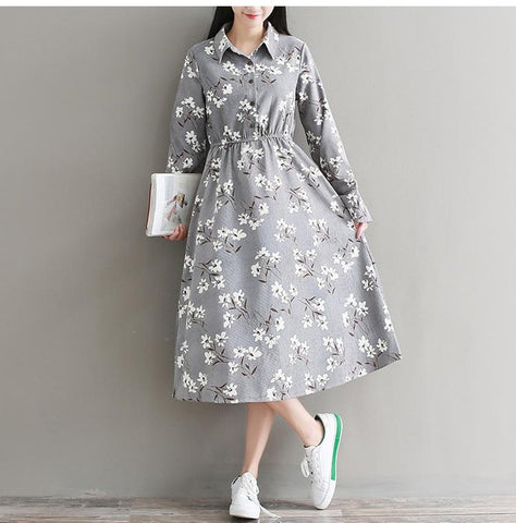 Autumn Winter Floral Printed Vintage Long Dress Women Long Sleeve Corduroy Dresses Gray Khaki Vestidos
