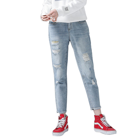 Jeans Woman Casual Trousers For Ladie Ankle-Length Straight Mid Waist Jeans Lady Ripped Loose Fashion Trousers
