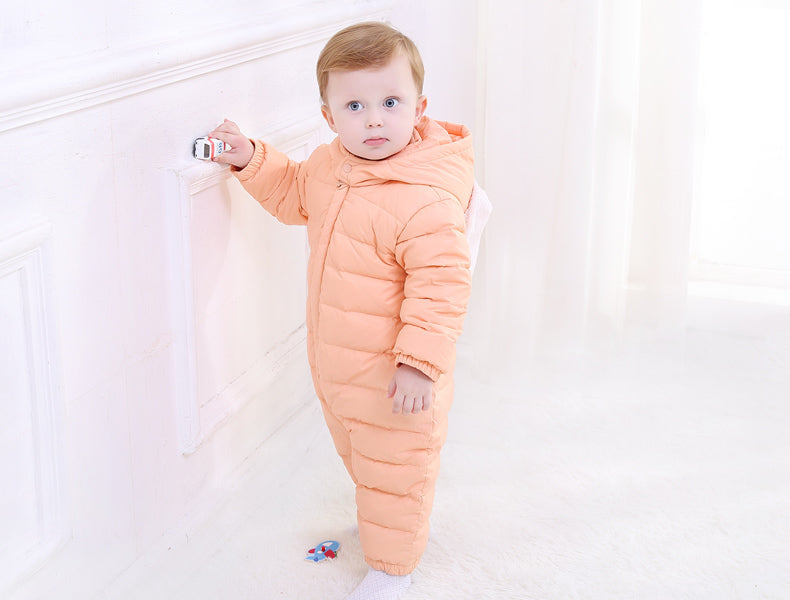 347eeec66 New Baby Winter Romper Cotton Padded Thick Newborn Baby Girl boy ...